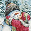 Gold Petite A Kiss For Snowman Counted Cross Stitch Kit-6''X6'' 18 Count