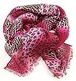 NB24 Versand Damen Schal (516), Damenmode, pink rosa schwarz, Animal Print, Damenbekleidung, Damenschal, Tuch