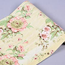 Rollo de papel para la pared autoadhesivo Floral papel de contacto estante maletero para armarios de cocina cajones estantes mesa artes y manualidades para pared (45x 1000cm, amarillo)