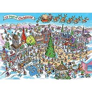 Rompecabezas Cobblehill 53505 de 1000 Piezas DoodleTown: 12 días de Navidad, Varios