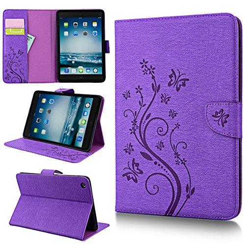 SMART LEGEND iPad Mini Hülle, iPad Mini 2 Hülle, iPad Mini 3 Lederhülle Schmetterling Weinstock Lila Leder Flip Case Schale mit Kartenfächer Magnet Standfunktion Etui