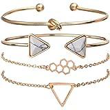 Shining Diva Fashion Set of 4 Multilayer Charm Bangle Gold Plated Bracelet for Women and Girls (Golden) (rrsd10695b)