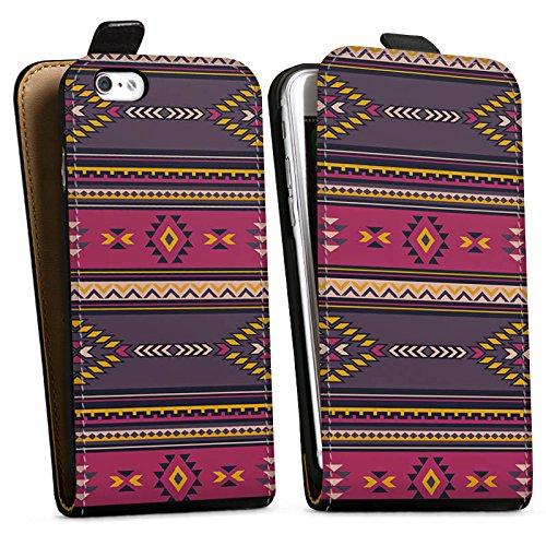 Apple iPhone X Silikon Hülle Case Schutzhülle Ethno Indianer Azteken Muster Downflip Tasche schwarz