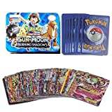 #8: Kiditos Pokemon 42 Cards in 1, Sun & Moon Burning Shadows Card Game with Metal Box Latest Collector's 2018 Edition with surprise 32 Basic/ Stage 1 & 2 Cards + 4 Energy Cards,+ 3 Trainer Cards+ 3 Rare GX Cards