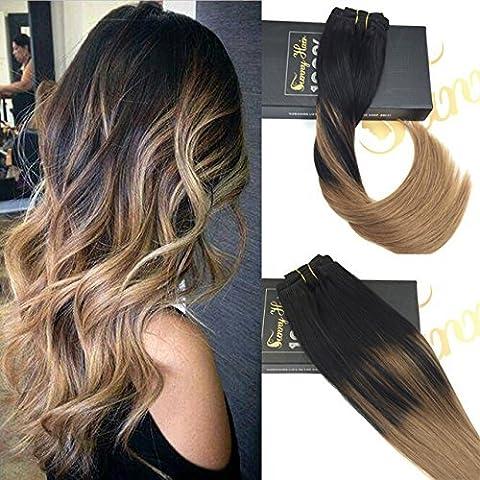 Sunny 7pcs/120gramme Extensions a Clips Tie and Dye Cheveux Naturels Noir Naturels Avec Blonde Legere Ombre Clip in Extensions 16Pouces/40cm