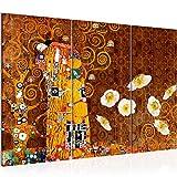Bilder Gustav Klimt der Kuss Wandbild 120 x 80 cm Vlies - Leinwand Bild XXL Format Wandbilder Wohnzimmer Wohnung Deko Kunstdrucke Braun 3 Teilig - MADE IN GERMANY - Fertig zum Aufhängen 021531a