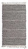 Fransenteppich Wohnzimmerteppich Handwebteppich IKAT | 120x180 cm | Grau | Baumwolle