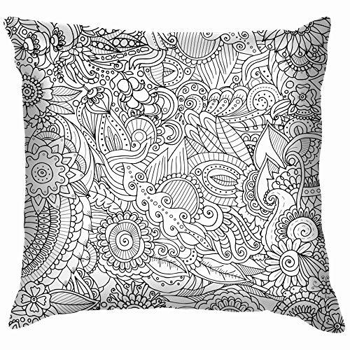 beautiful& Zentangle Black White Ethnic Soft Cotton Linen Cushion Cover Pillowcases Throw Pillow Decor Pillow Case Home Decor 18X18 Inch