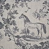Leinenstoff | Das Edle Pferd - grau (Toile de Jouy Muster) | Grundfarbe: cremeweiß | 100% Leinen Stoff - Stoffbreite: 140cm Meterware (1 Meter)