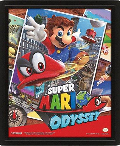 1art1 107932 Super Mario - Odyssey Snapshots 3D-Poster (gerahmt) 25 x 20 cm (Mario Brothers Dekorationen)