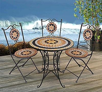 4tlg. Mosaik Sitzgarnitur Gartengarnitur Terrassenmöbel Balkonmöbel Sitzgruppe 2x Klappstuhl Mosaiktisch Ø70cm