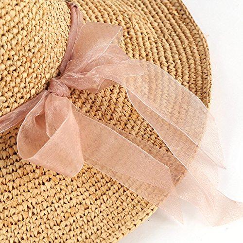 Été Dames Raphia Crochet Dayan Mao Chapeau De Voyage Guirlande Chapeau De Plage De Sable Beige