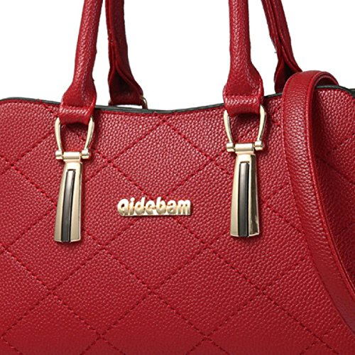 La Signora PU Borsa Borsa In Pelle Tracolla Messenger Boston winered