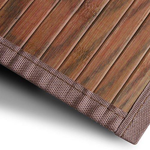 Bambusteppich Magenta (Braun) | für Bad und Wohnzimmer | natürlich wohnen mit 100% echtem Bambus | Bambusmatte in vielen Größen (50x80 cm)