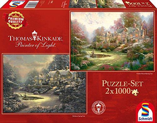 Schmidt Spiele 59469 - Thomas Kinkade, Sonnenuntergang oder Winter in Riverbend, 2 x 1.000 Teile, Klassische Puzzle