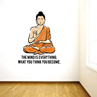 Rawpockets 'Peaceful Buddha and Quote on Mind ' Wall Sticker (PVC Vinyl, 95 cm x 75cm, Multicolour)