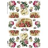 Accademia del Decoupage 32 x 45 cm de papel de arroz para, cesta de rosas