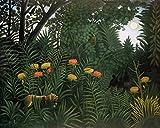 Kunstdruck/Poster: Henri J.F. Rousseau Exotische Landschaft mit Tiger und Jägern - hochwertiger Druck, Bild, Kunstposter, 50x40 cm