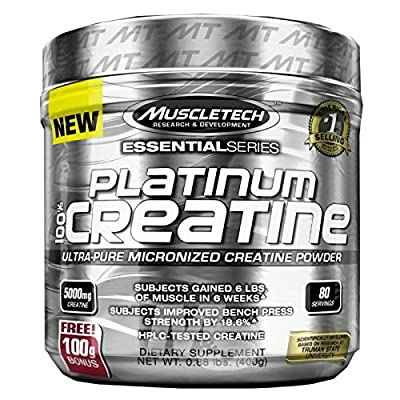MuscleTech Platinum 100% Creatine, Ultra-Pure Micronized Creatine Powder, 80 Servings, 0.88 lbs (400g) by Unknown from MuscleTech