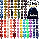 Outee 140 Pcs Polyhedral Dice Game Dice, 20 Complete Sets of d20, d12, 2 d10 (00-90 and 0-9), d8, d6 and d4 for DND MTG RPG Dungeons and Dragons Dice Game, Include 1 Big Pouch, Multiple Colors