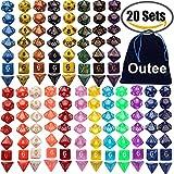 Outee 140 Stück Polyeder Würfel Spiel Würfel, 20 Komplettsets von d20, d12, 2 d10 (00-90 und 0-9), d8, d6 und d4 für DND MTG RPG Dungeons und Drachen Würfel Spiel, enthalten 1 Big Pouch, mehrere Farben
