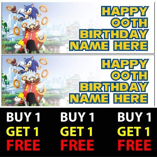 ELITEPRINT Sonic The Hedgehog Buy 1 Gratis-Geburtstagsbanner 100 g/m² für Kinder Jungen Mädchen Geburtstag Party (Sonic Hedgehog Geburtstag)