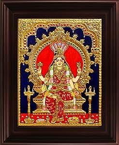 MyAngadi Traditional Renuka Devi Tanjore Painting - 22 Carat Gold Foil (44x37 cm)