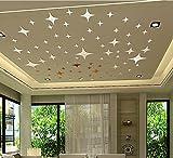 """LifeUp- Adesivi Murali da Soffitto Pavimento Vetro """" 43 Stelle Argento Tono 3D Specchio Effetto """" Soggiorno Camera da Letto Sticker Decorazione da Parete, FAI DA TE!"""