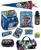 Familando Avengers Schulranzen-Set 10tlg. Scooli Campus Up mit Sporttasche Schultüte 85cm und Regenschutz
