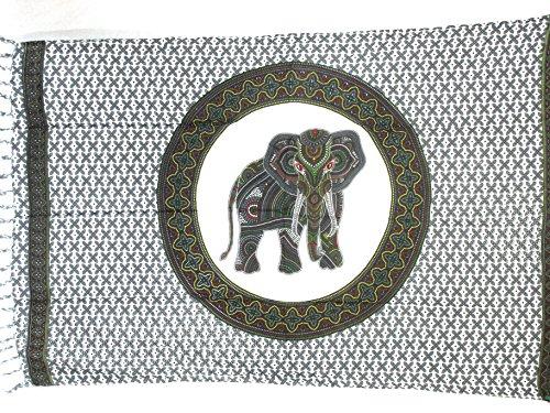 Pareo Sarong Tuch bunt farbig mit Elefant Mandala Design/große Auswahl schönste Farben/Wickelrock Strandtuch Sauna-Tuch Wickelkleid Schal Bademode Freizeitmode Sommermode/aus 100{878f724bbee1e37b4cd96216a3dd0af40d31c24f9e7db24ed535b7624f3d2835} Viskose