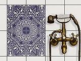 creatisto Küchenfliesen | Dekorations-Fliesensticker Fliesen-Muster Bad-Folie Küchengestaltung | 15x20 cm Design Motiv Blue Mandala - 4 Stück