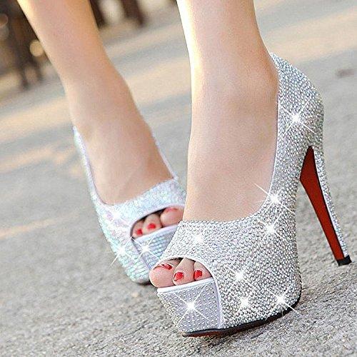 XINJING-S Bowknot High Heels Schuhe Party Hochzeit Frauen Pumps Heels OL Kleidung Schuhe Sandalen Silber