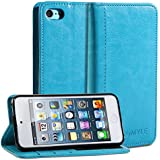 iPod 5 Case, GMYLE(R) Wallet Case Simple for iPod touch 5th Generation - Teal PU Leather Stand Cover