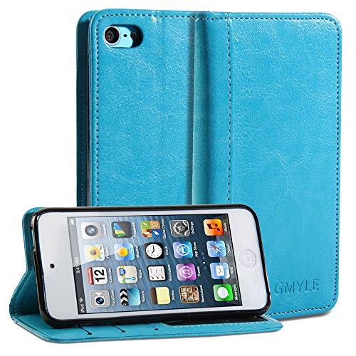 iPod 5 Hülle, GMYLE(R) Mappe Kasten Einfache für iPod Touch 5G - Teal Grün PU Leder Stand Cover Tasche - Teal 5 Ipod Fällen,