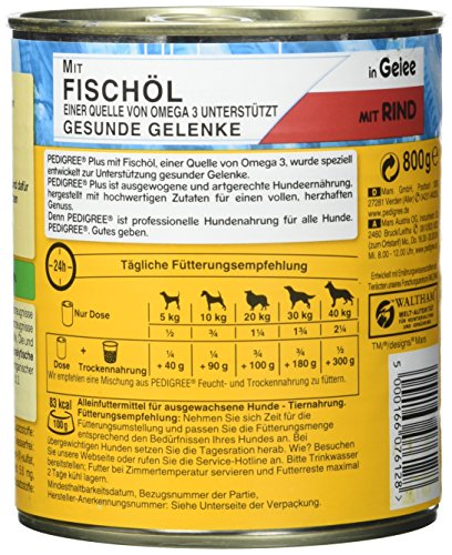 Pedigree Adult Plus Hundefutter Fischöl – Rind in Gelee, 12 Dosen (12 x 800 g) - 5
