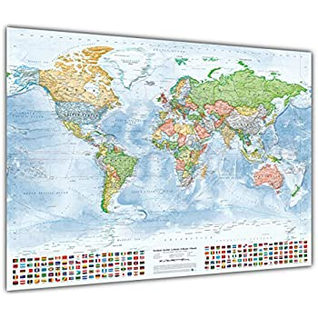 Political world map with flags size 100x70 cm english updated political world map with flags size 100x70 cm english updated 2015 gumiabroncs Choice Image