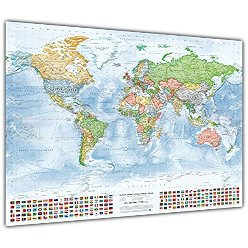 World maps amazon political world map with flags size 100x70 cm english updated 2015 gumiabroncs Gallery