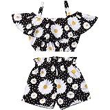 Conjuntos para Bebé Recién Nacido Niña 2 Piezas 1 Camiseta de Hombro con Tirantes + 1 Pantalones Cortos Floral Verano y Casua