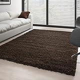 Carpettex Teppich - Hochflor Langflor Wohnzimmer Shaggy Teppich Florhöhe 3cm Unifarbe - Braun, 200x200 cm Quadrat