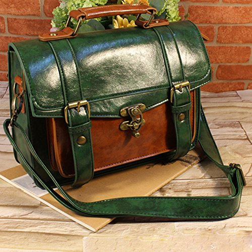 LaoZan Borsa Messenger Donna Vintage in Finta Pelle Cartella Borse a Tracolla Verde Verde