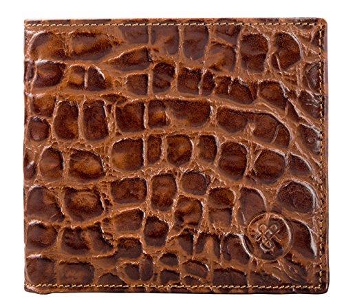 Maxwell Scott Bags® Portefeuille Homme Crocodile de Luxe Marron Clair (Vittore Croco) Marron Foncé Croco