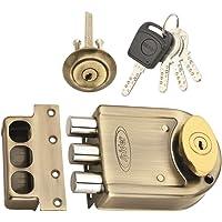 Spider Tri Bolt Door Lock with Antique Brass Finish (DLTB03AB) with 4 Brass Computer Keys