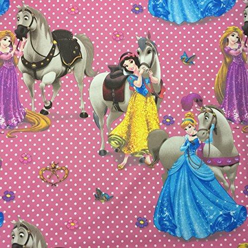 Disney-Prinzessinnen-Motiv, Pink-lizenziertes, hochwertiges, 100% Baumwolle, fein gewebt Children's Duschvorhang aus Stoff, 140 cm breit, Meterware