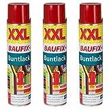 3 x Baufix Buntlack Sprühdose rot XXL 600ml