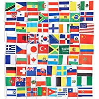 Juvale International Country Flags (72-Pack) - International Flags of the World - 72 Different Countries, Assorted Colors, 19 x 13 Centimetres Each