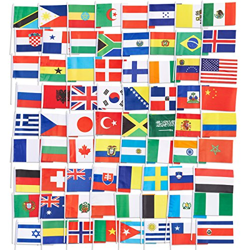 Juvale Landesflaggen, internationale Flaggen der Welt, Partydekoration, 72Verschiedene Länder, verschiedene Farben, 19,1x 13,2cm, 72 Stück
