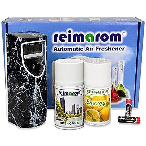 Aerosol Dispenser Set Office mit Duftspender Marble und 2 Raumsprays zur Bürobeduftung und Geruchsentfernung