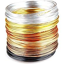 """Creacraft Alambre de Aluminio Artístico para Bisutería """"otoño dorado"""" - 30m, rollos a 5 metros de varios colores (2mm)"""