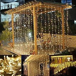 LE Cortina de Luces LED 3m*3m 306 LED de Calidad, Blanco Cálido, Resistente al Agua, 8 Modos de Luz, Decoración de fiestas, luces de Navidad