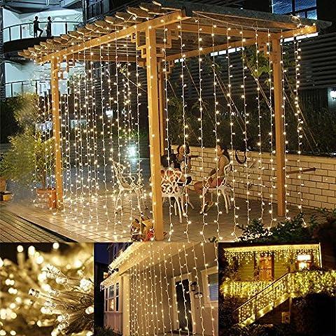 LE 3*6m Rideau Lumineux 594 LEDs, 8 Modes 3000K Blanc Chaud, Festival Guirlande lumineuse pour intérieur, extérieur, rideaux, fenêtre, balcon, façade de maison, véranda